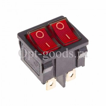 Выключатель клавишный двойной оптом OM-E172