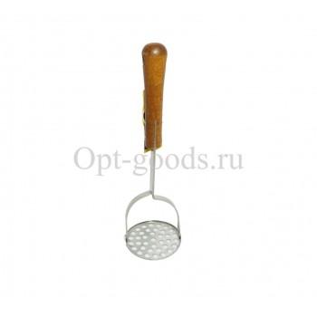 Картофелемялка с деревянной ручкой 30 см оптом SM-X899