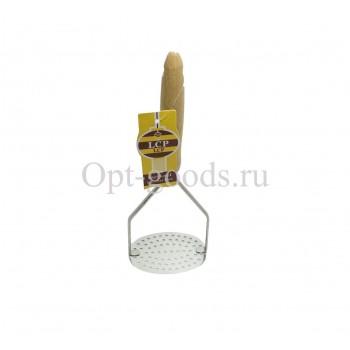 Картофелемялка с деревянной ручкой 26 см оптом SM-X901