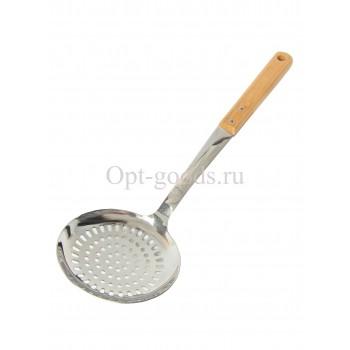 Шумовка с бамбуковой ручкой 34 см оптом SM-X70