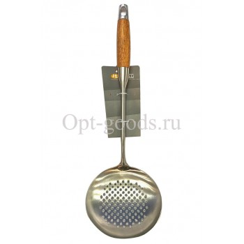 Шумовка с деревянной ручкой 39 см оптом SM-X245