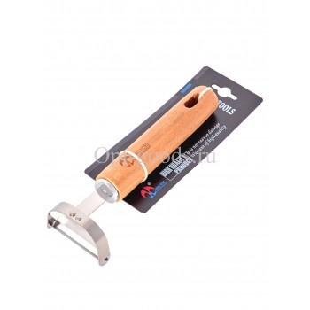 Овощечистка с деревянной ручкой 16 см оптом SM-X392