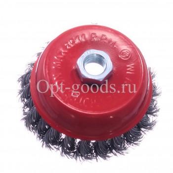 Щетка чашка для ушм жесткая 100 мм оптом OM-X136